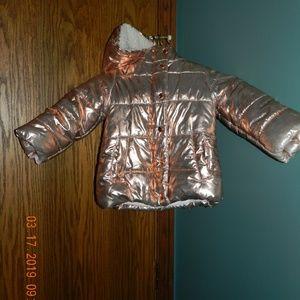 Girl's DNKY Rose Gold Winter Coat